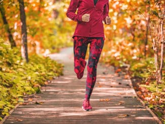 Leggings worn during a fall run