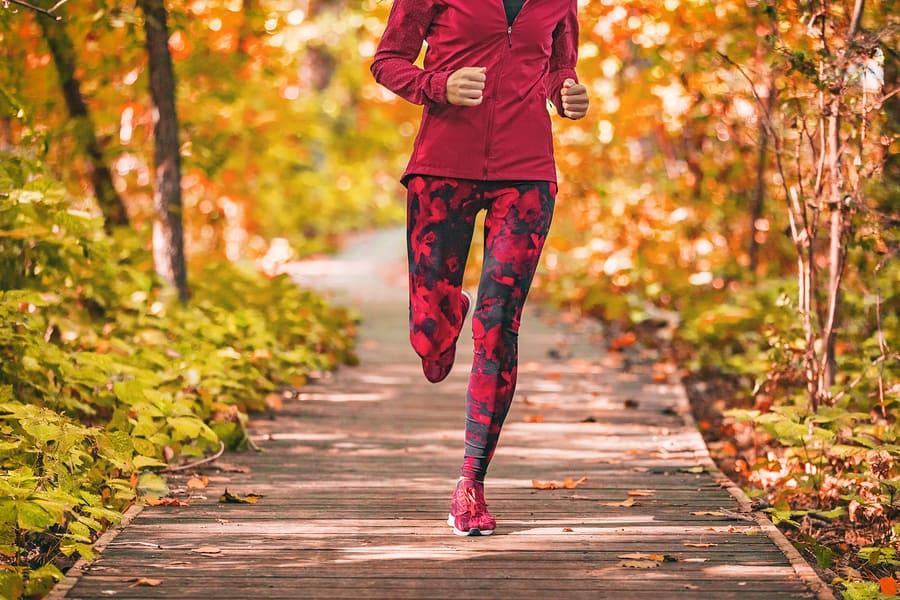 Leggings worn during a fall run
