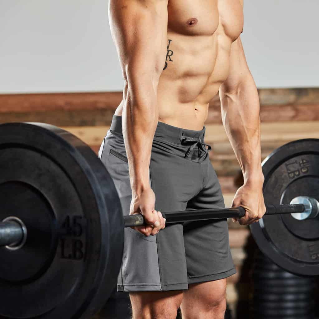 Top of the deadlift in the Helix II men's workout short from Hylete - best for CrossFit - Gun Metal/Cool Gray