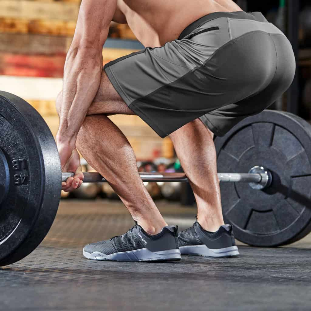 Deadlift in the The Helix II men's workout short from Hylete - best for CrossFit - Gun Metal/Cool Gray