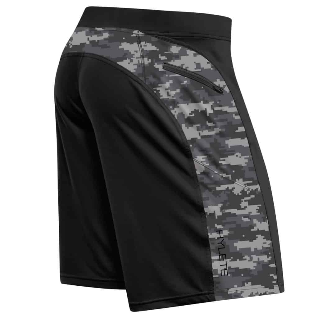 Back view of the Hylete Helix II workout shorts for CrossFit - Black/Camo