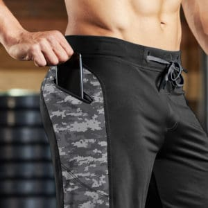 zippered pocket of the Hylete Helix II workout shorts for CrossFit - Black/Camo