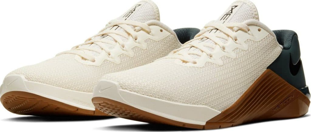 Quarter view of the Nike Metcon 5 CrossFit Shoe for 2020 in Ivory/Gum colorway