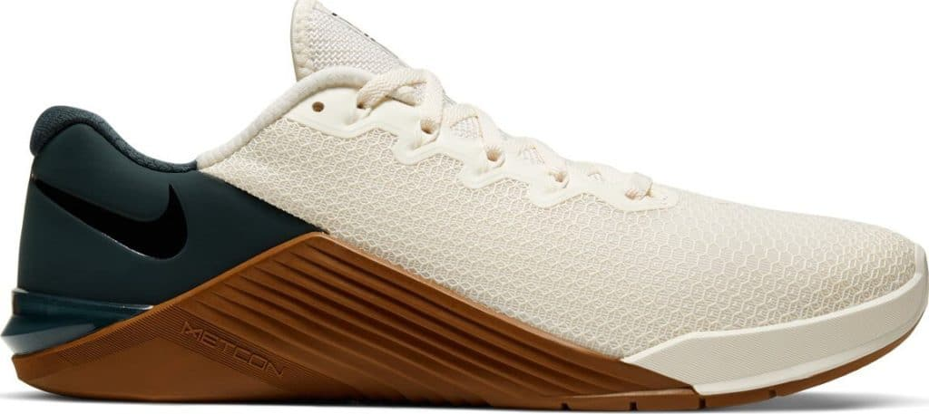 Opposite side view of the Nike Metcon 5 CrossFit Shoe for 2020 in Ivory/Gum colorway