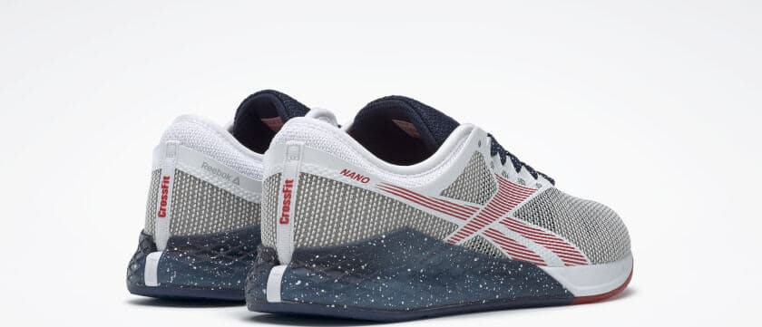 Heel view of the Reebok Nano 9 Men's Training Shoe for CrossFit - White / Collegiate Navy / Primal Red