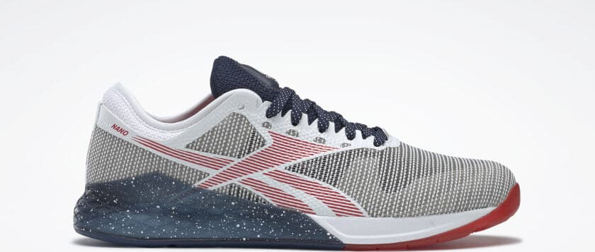 Other side view of the Reebok Nano 9 Men's Training Shoe for CrossFit - White / Collegiate Navy / Primal Red