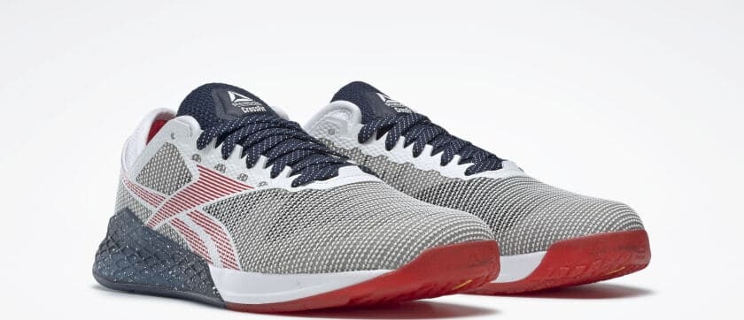 Quarter view of the Reebok Nano 9 Men's Training Shoe for CrossFit - White / Collegiate Navy / Primal Red