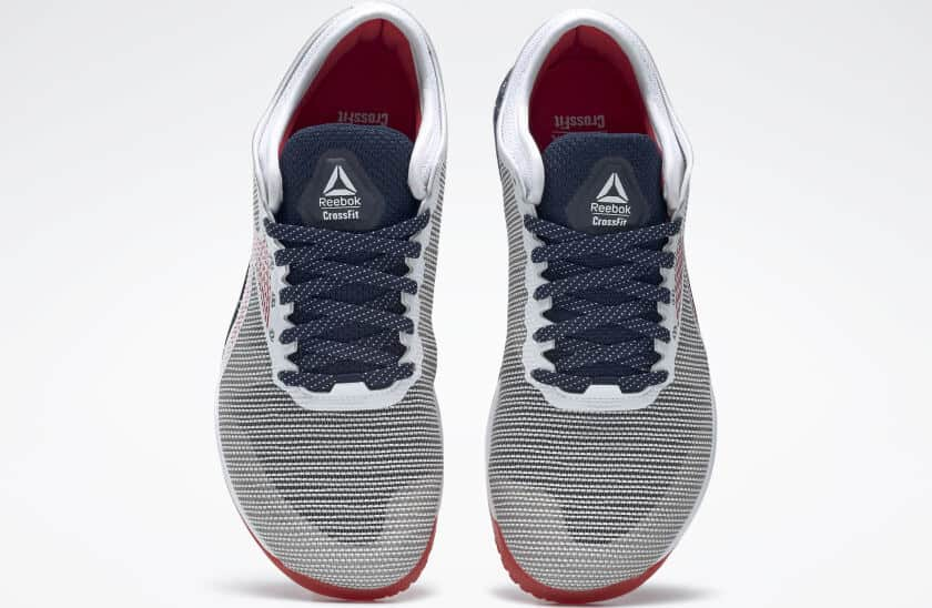 Top view of the Reebok Nano 9 Men's Training Shoe for CrossFit - White / Collegiate Navy / Primal Red