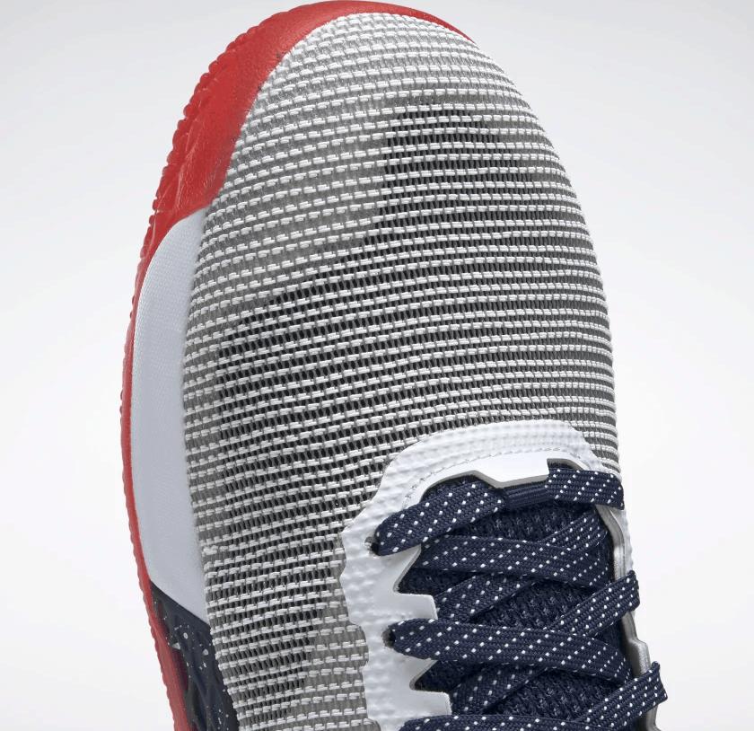 Upper of the Reebok Nano 9 Men's Training Shoe for CrossFit - White / Collegiate Navy / Primal Red