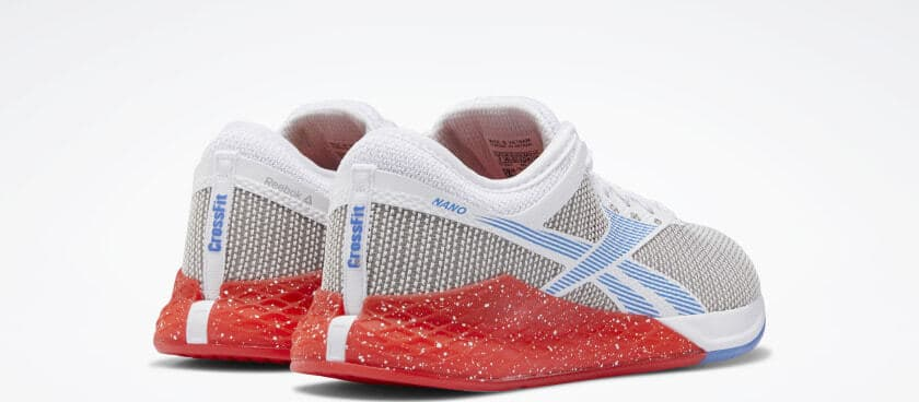 Heel view of the Reebok Nano 9 Women's Training Shoe for CrossFit - White / Radiant Red / Blue Blast
