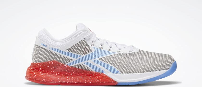 Other side view of the Reebok Nano 9 Women's Training Shoe for CrossFit - White / Radiant Red / Blue Blast