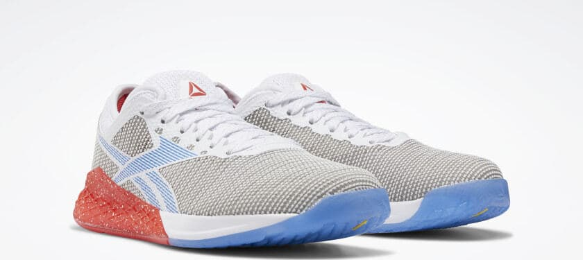 Quarter view of the Reebok Nano 9 Women's Training Shoe for CrossFit - White / Radiant Red / Blue Blast