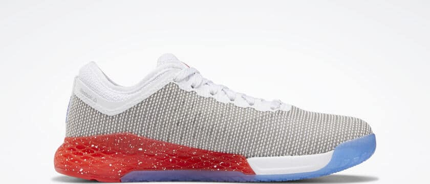 Side view of the Reebok Nano 9 Women's Training Shoe for CrossFit - White / Radiant Red / Blue Blast