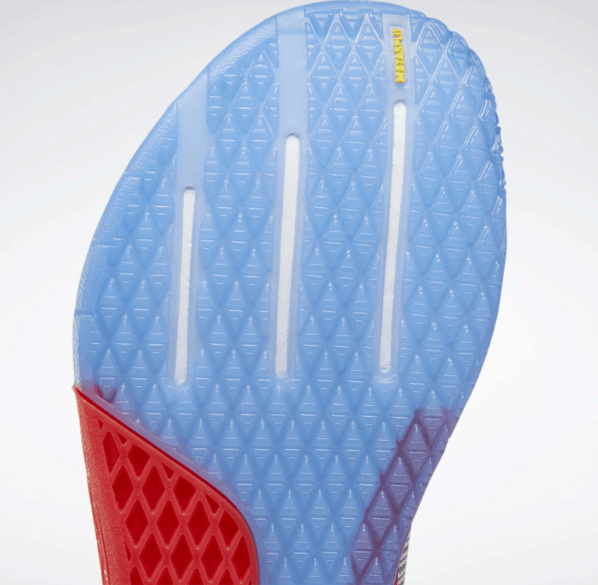 Sole closeup of the Reebok Nano 9 Women's Training Shoe for CrossFit - White / Radiant Red / Blue Blast