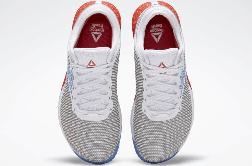 Top view of the Reebok Nano 9 Women's Training Shoe for CrossFit - White / Radiant Red / Blue Blast