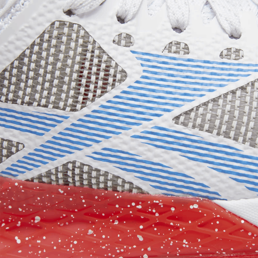 Upper closeup of the Reebok Nano 9 Women's Training Shoe for CrossFit - White / Radiant Red / Blue Blast
