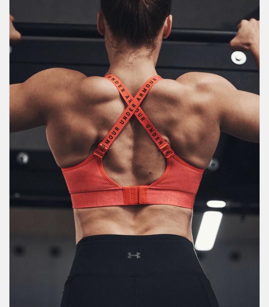 Womens UA Infinity Mid Heather Sports Bra Beta Light Heather muscles