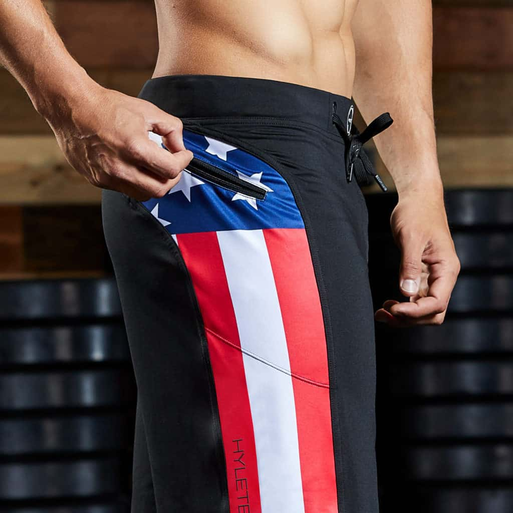 zippered pocket of the Helix 2 Workout Shorts for Men from Hylete - Black/USA