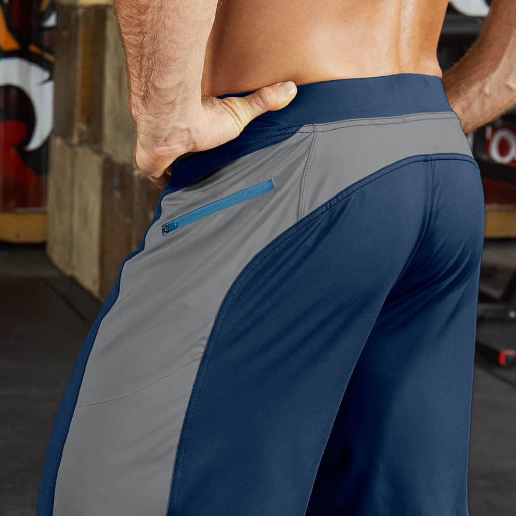 as worn Helix II workout shorts for men from Hylete - Navy/Cool Gray