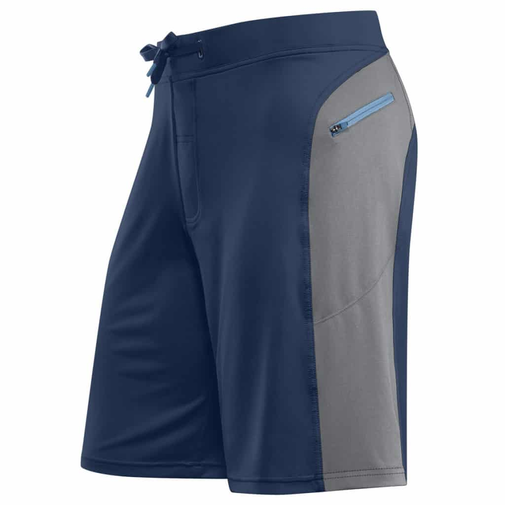 Front of Helix II workout shorts for men from Hylete - Navy/Cool Gray