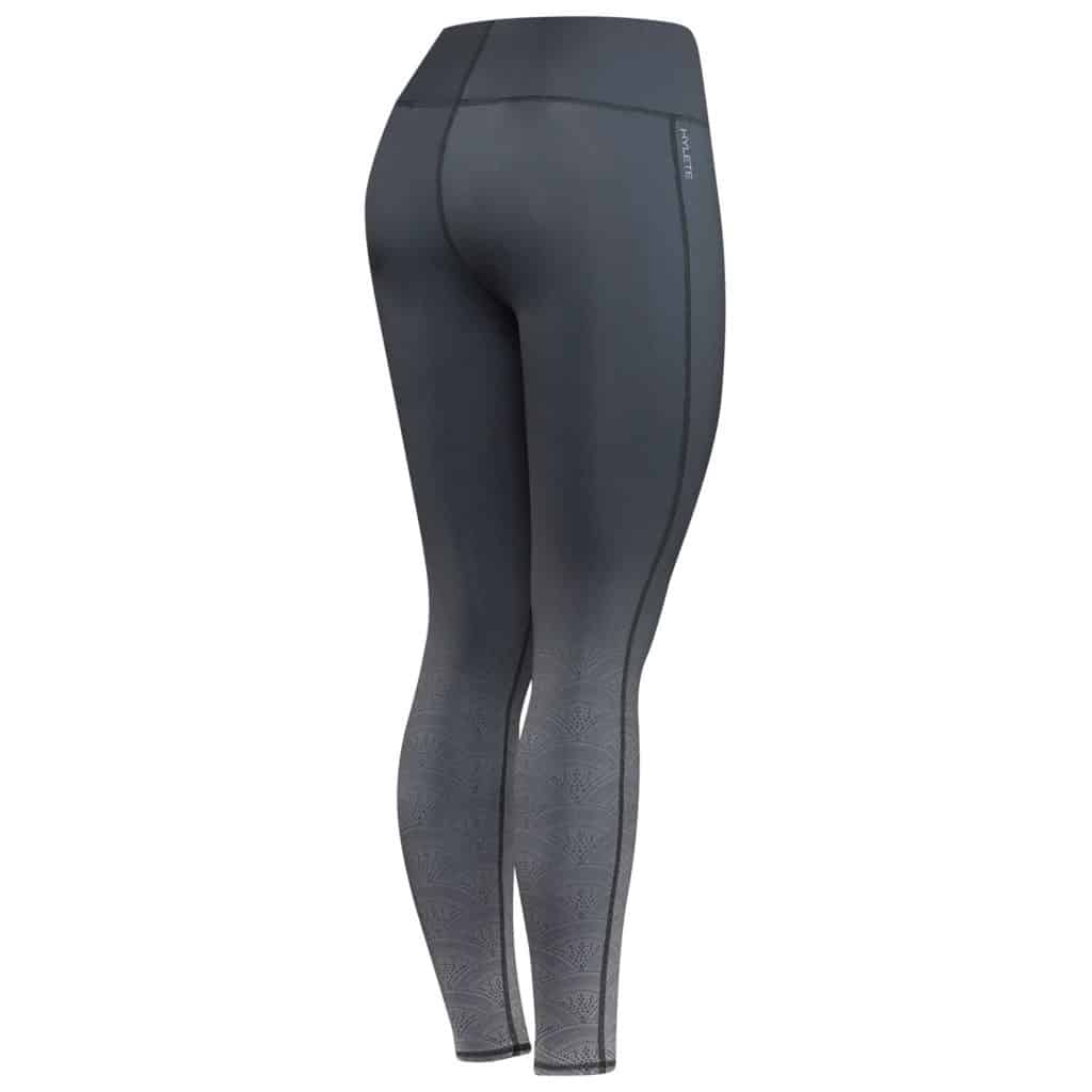 Back view of the Hylete Motiv II Workout Tights for Women CrossFit in Black Fade