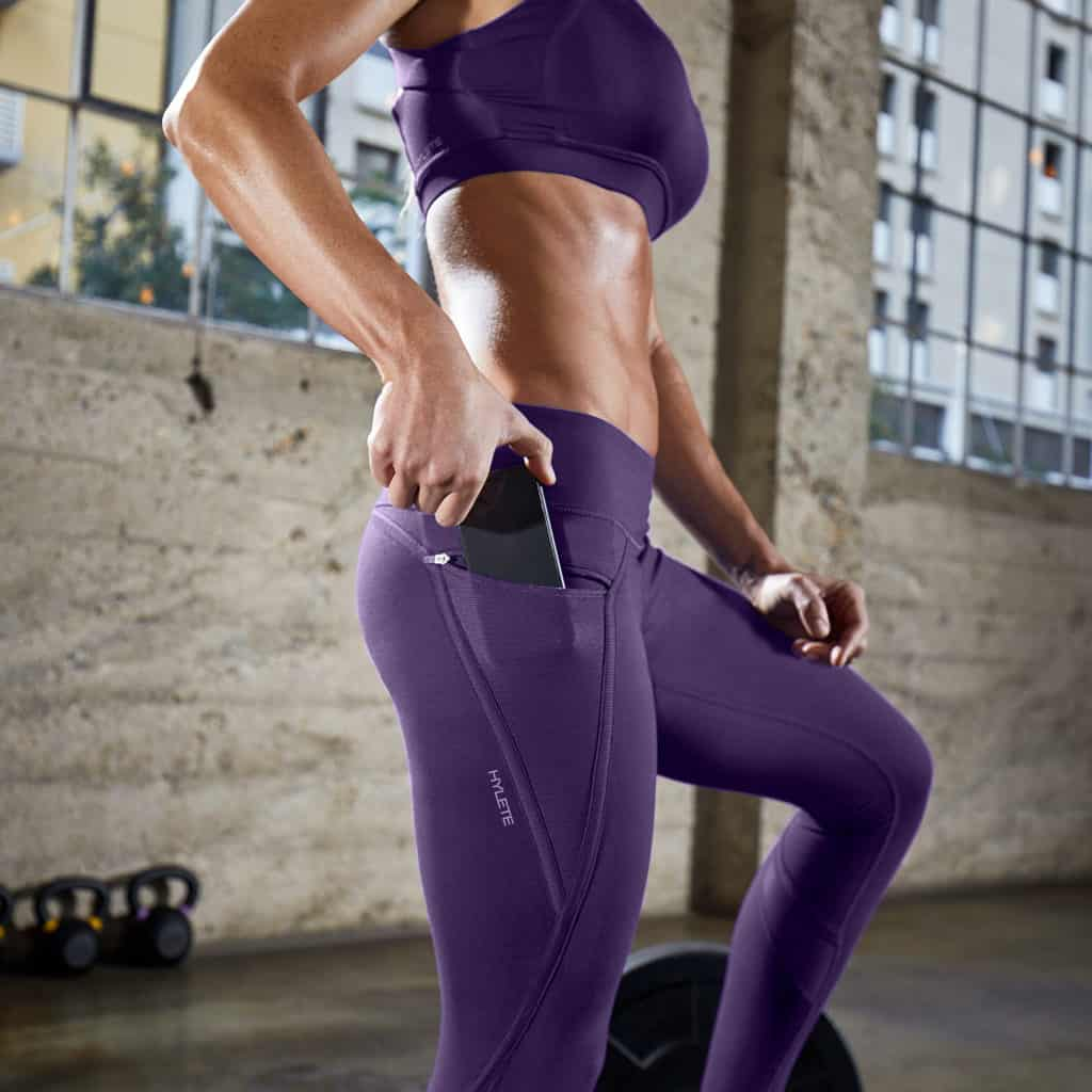 Nimbus Workout Tights from Hylete - Orchid have pocket