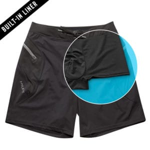Liner details of the Hylete Verge II Mens Workout Shorts for CrossFit - Black with inner liner