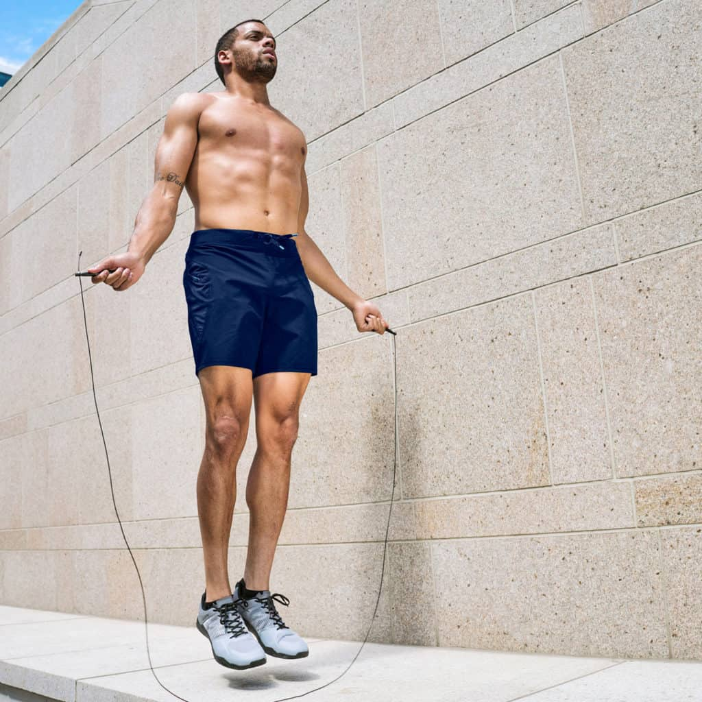 Skip rope with Men's Workout Short for CrossFit - Hylete Verge II in Navy/Navy