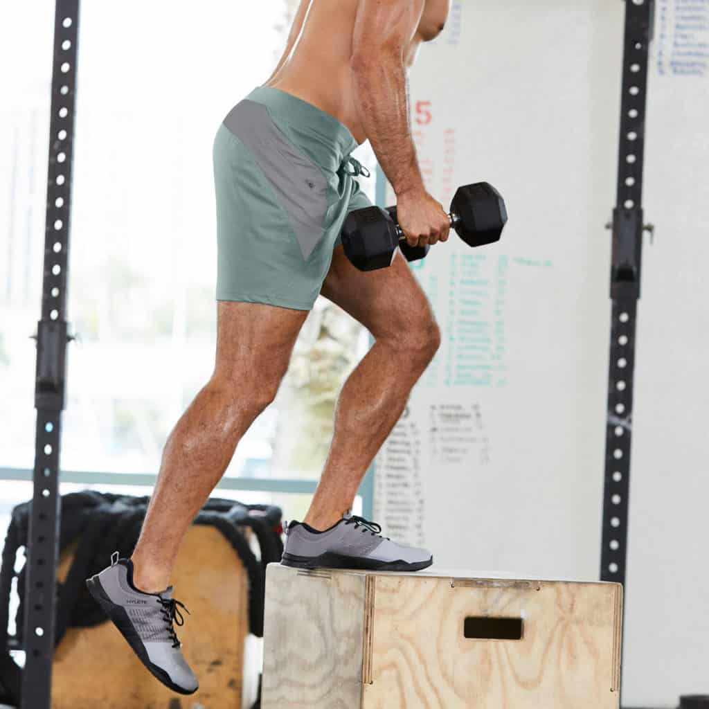 Step-ups with the Verge II men's workout short from Hylete