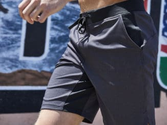Front as worn of the Hylete Fuse Short - Workout shorts for men in Heather Black/Black