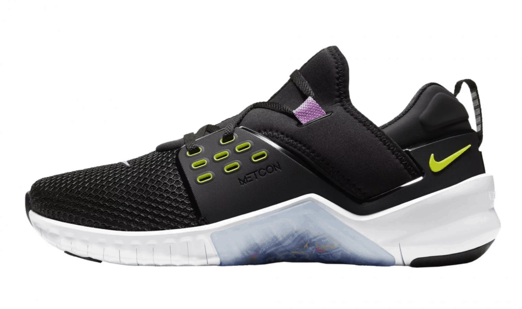 Side view of the Nike Free x Metcon 2 Cross Trainer for Men in BLACK / BRIGHT CACTUS PURPLE / NEBULA / WHITE