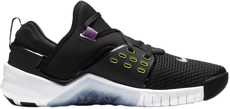 Other side view of the Nike Free x Metcon 2 Cross Trainer for Men in BLACK / BRIGHT CACTUS PURPLE / NEBULA / WHITE