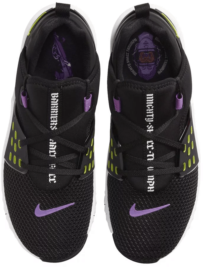 Top view of the Nike Free x Metcon 2 Cross Trainer for Men in BLACK / BRIGHT CACTUS PURPLE / NEBULA / WHITE