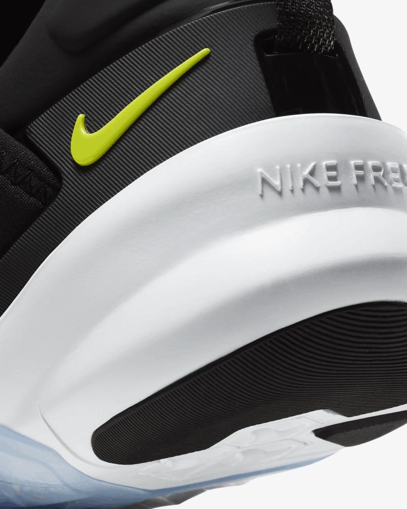 Heel closeup of the Nike Free x Metcon 2 Cross Trainer for CrossFit in Black/Purple Nebula/White/Bright Cactus