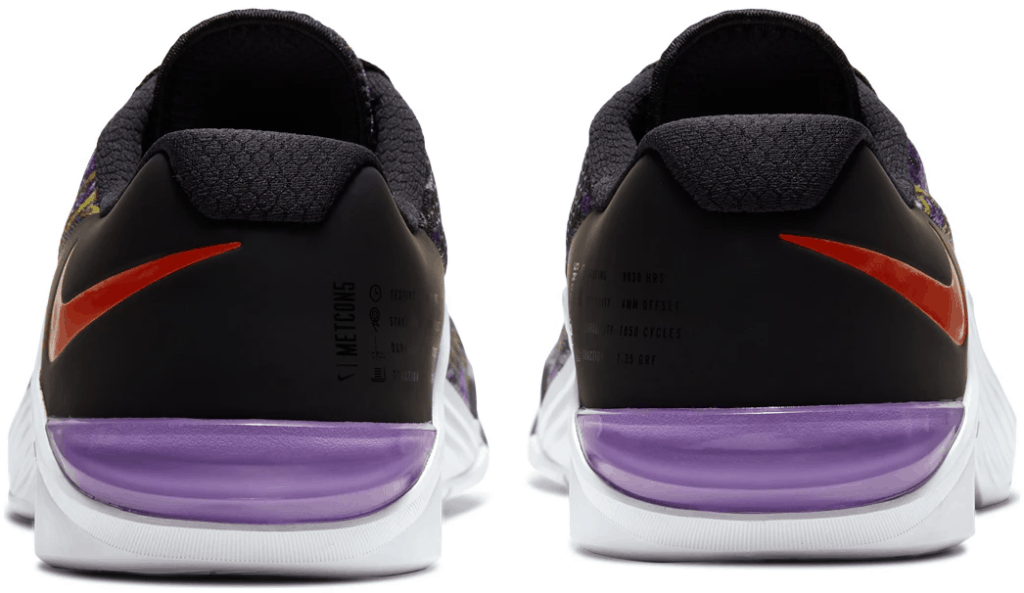 Heel view of the Nike Metcon 5 Cross Trainer for 2020 - David vs Goliath