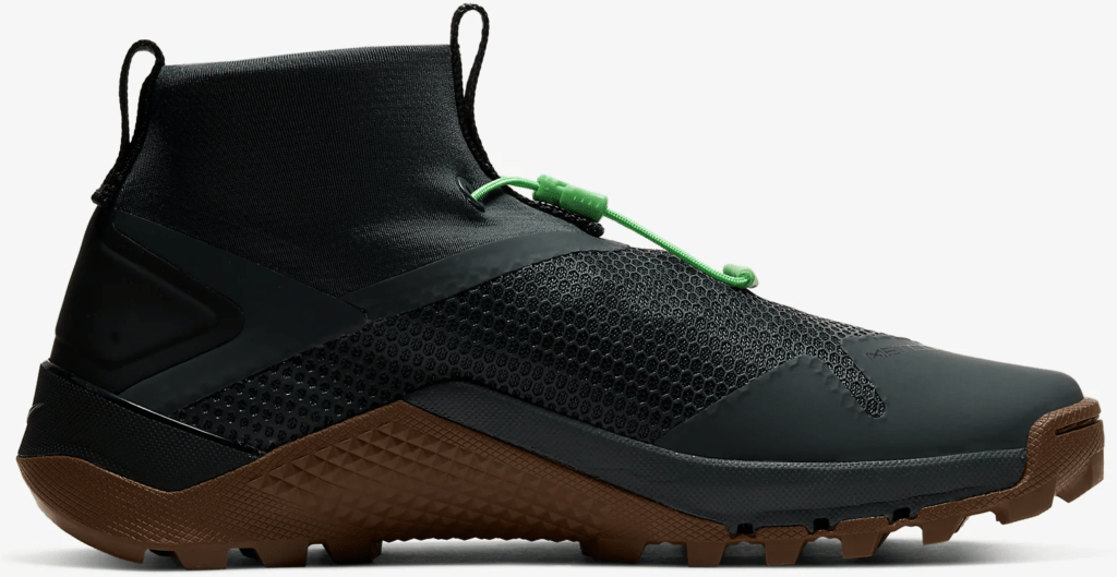 Side profile of the Nike MetconSF shown here in Seaweed/Light British Tan/Green Spark/Black