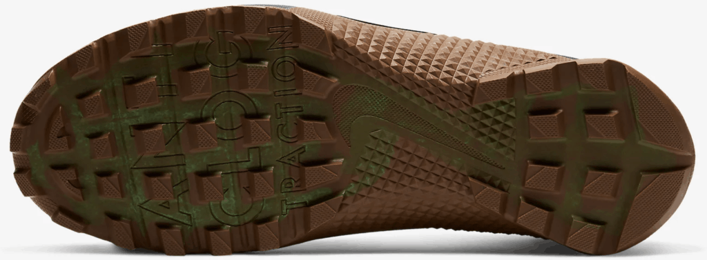Outsole closeup of the Nike MetconSF shown here in Seaweed/Light British Tan/Green Spark/Black