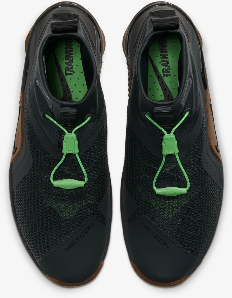 Top view of the Nike MetconSF shown here in Seaweed/Light British Tan/Green Spark/Black