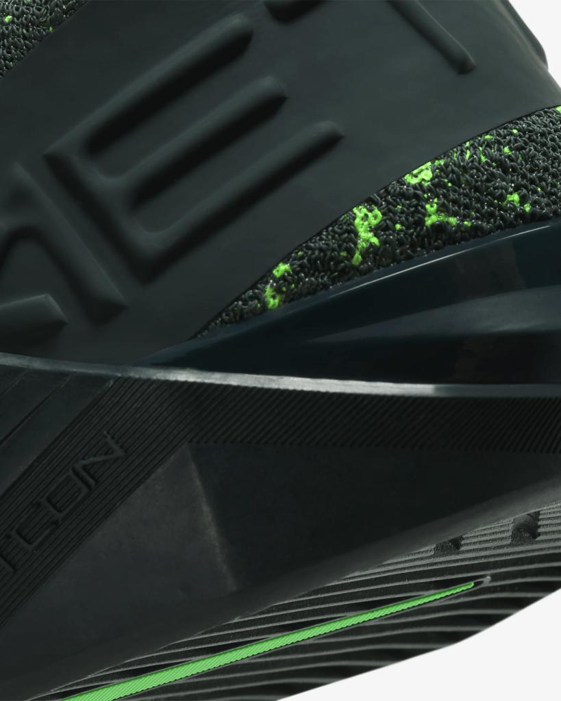 Heel closeup of Nike React Metcon Men's CrossFit Training Shoe in Seaweed/Green Spark/Vintage Green