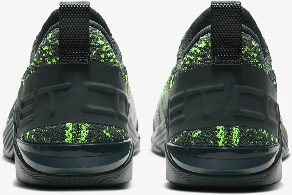 Heel view of Nike React Metcon Men's CrossFit Training Shoe in Seaweed/Green Spark/Vintage Green