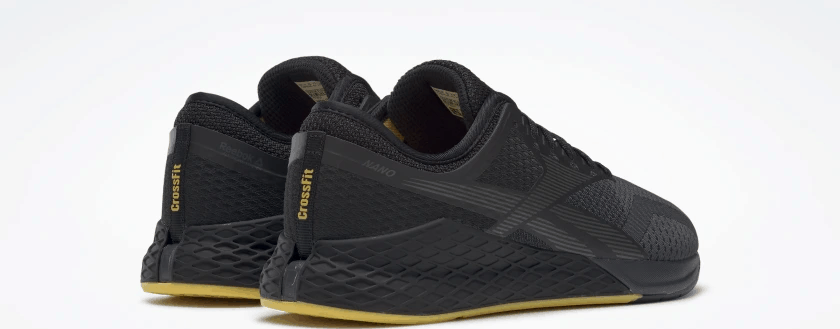 Heel view of the Reebok Nano 9 Beast Men's CrossFit Training Shoe with Jacquard Upper - Black / True Grey 8 / Toxic Yellow