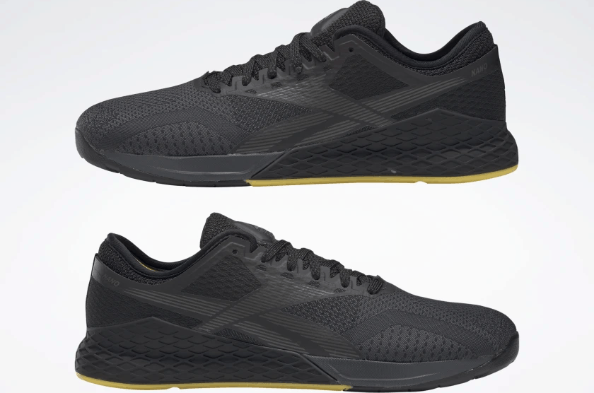 left and right of the Reebok Nano 9 Beast Men's CrossFit Training Shoe with Jacquard Upper - Black / True Grey 8 / Toxic Yellow