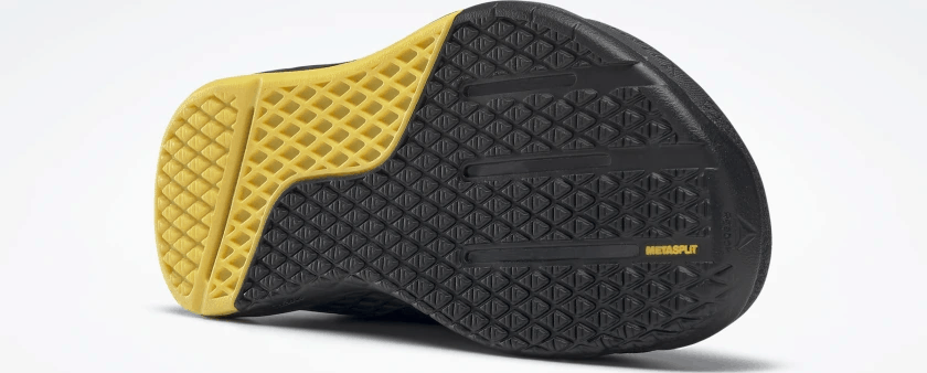 Outsole of the Reebok Nano 9 Beast Men's CrossFit Training Shoe with Jacquard Upper - Black / True Grey 8 / Toxic Yellow