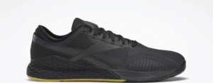 Side view of the Reebok Nano 9 Beast Men's CrossFit Training Shoe with Jacquard Upper - Black / True Grey 8 / Toxic Yellow