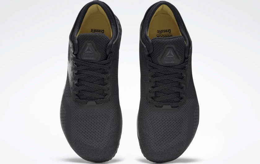Top view of the Reebok Nano 9 Beast Men's CrossFit Training Shoe with Jacquard Upper - Black / True Grey 8 / Toxic Yellow