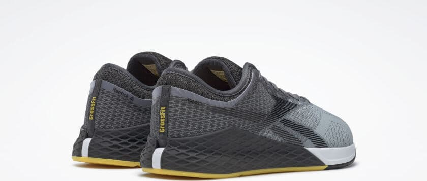 Heel view of the Reebok Nano 9 Beast Men's CrossFit Training Shoe with Jacquard Upper - Cold Grey 4 / Cold Grey 7 / Toxic Yellow