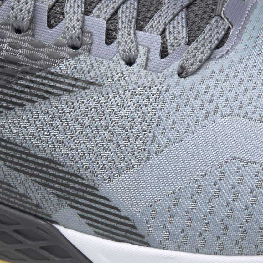 Jacquard upper closeup of the Reebok Nano 9 Beast Men's CrossFit Training Shoe with Jacquard Upper - Cold Grey 4 / Cold Grey 7 / Toxic Yellow