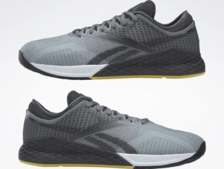 left and right of the Reebok Nano 9 Beast Men's CrossFit Training Shoe with Jacquard Upper - Cold Grey 4 / Cold Grey 7 / Toxic Yellow