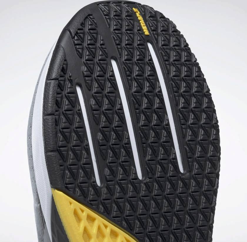 Outsole closeup of the Reebok Nano 9 Beast Men's CrossFit Training Shoe with Jacquard Upper - Black / True Grey 8 / Toxic Yellow