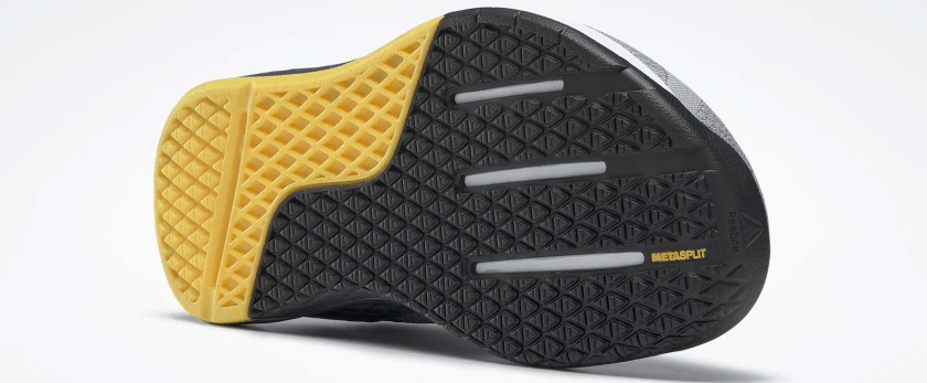 outsole of the Reebok Nano 9 Beast Men's CrossFit Training Shoe with Jacquard Upper - Cold Grey 4 / Cold Grey 7 / Toxic Yellow